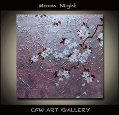 Flower, Art, Painting, mixed medium painting, Original impasto cherry blossom wall art painting, Metallic, Gold Modern Art painting 8x8 on Etsy, $79.00