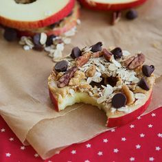 Healthy Snack - apple, peanut butter, oats, walnuts, and chocolate chips!