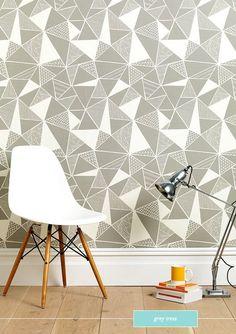 Sian Elin Wallpaper - geometric design with Molded plastic chair with wood dowel base | via Bright.Bazaar