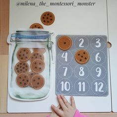 Cookie Counting (by Lusi Dural, Milena the Montessori Monst Toddler Quiet Book Page - Learn to Count Cookies kindergarten math - sandrine escoffier - This Preschool Learning Activities, Infant Activities, Preschool Activities, Teaching Kids, Kindergarten Math, Montessori Preschool, Preschool Curriculum, Homeschooling, Kids Education