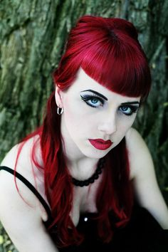 Incredible dark cherry red hair. (via My shade by the Moonlight by ~blackfantastix on deviantART)
