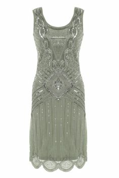 Grey Sequin Charleston Flapper UK 8 10 12 Gatsby Dress 20's Art Deco Silver | eBay