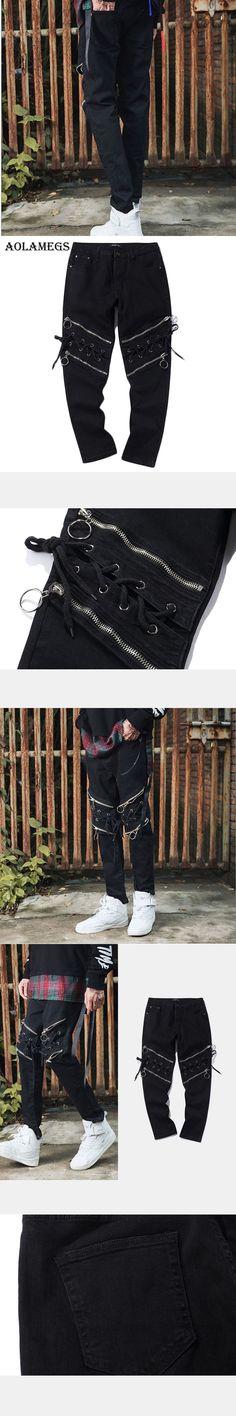 Aolamegs Pants Men Hip Hop Cargo Multi Zipper Track Pants Male Trousers Elastic Waist Casual Fashion Joggers Sweatpants Autumn