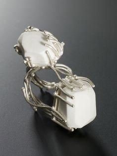 Rings | Pauline Edie. 'Sleeping Beauty'.  Porcelain and sterling silver.