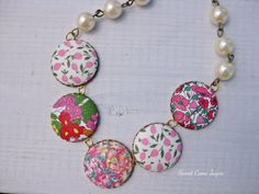 Statement Necklace Pink Liberty of London Fabric by SweetCamiJayne