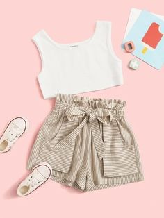 Girls Two-Piece Outfits Teenage Girl Outfits, Kids Outfits Girls, Cute Girl Outfits, Girls Fashion Clothes, Cute Outfits For Kids, Cute Summer Outfits, Teen Fashion Outfits, Cute Casual Outfits, Simple Outfits