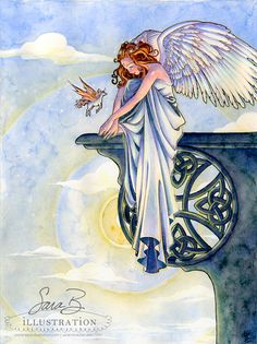 Limited Print  Celtic Angel with Unicorn  by sarambutcher on Etsy, $35.00