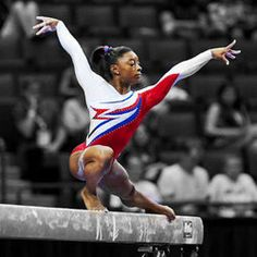 Simone Biles competes on the balance beam on day 2 of the national championships. Biles came in second on the event. All About Gymnastics, Artistic Gymnastics, Simone Biles, Rio Olympics 2016, Summer Olympics, Gymnastics Posters, Gymnastics Pics, Gymnastics History, Olympic Winners