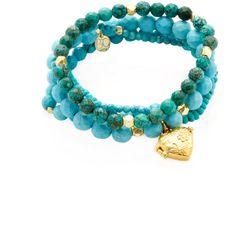 Good Charma Women's Heart Locket Charm Bracelets  - Turquoise/Aqua ($219) ❤ liked on Polyvore featuring jewelry, bracelets, heart shaped locket, heart bangle, aqua jewelry, turquoise jewelry and heart jewelry