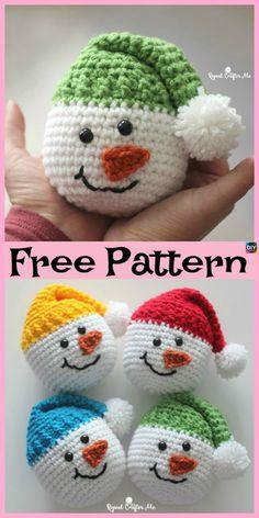 Click below link for free pattern… Crochet Cute Snowman – Free Pattern – Diy 4 Ever Crochet Snowman, Crochet Ornaments, Crochet Christmas Decorations, Christmas Crafts, Crochet Christmas Gifts, Christmas Snowman, Winter Christmas, Crochet Gifts, Cute Crochet