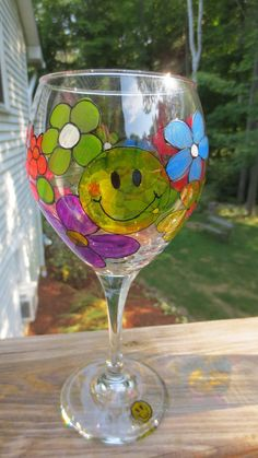 Wine Glass Hand Painted Retro Hippie Flowers Peace by CCsCrafts