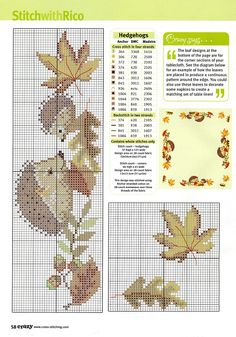 autumn hedgehogs cross stitch