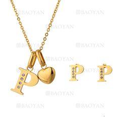"""juego collar y aretes de letra """"P"""" brillo en acero dorado inoxidable -SSNEG1093703"""