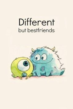 different but best friend disney pixar monsters inc Art Disney, Disney Kunst, Disney Love, Disney Magic, Mike E Sulley, Mike And Sully, Baby Mike Wazowski, Disney And Dreamworks, Disney Pixar