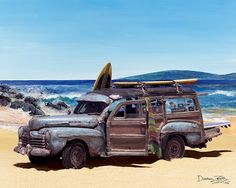 Woody Wagon | Ford Woody Woodie Station Wagon - Auto-Car-Art-Print-Poster-Picture