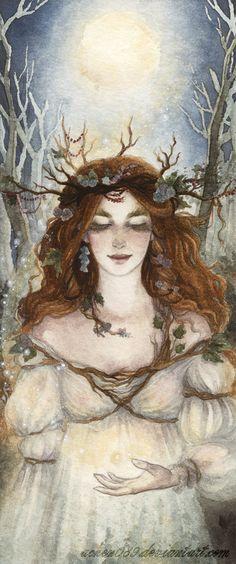 The Maiden Goddess at Imbolc. Brigid's Day, February Brigid (goddess of fertility) Fantasy World, Fantasy Art, Illustrations, Illustration Art, Winter Goddess, Art Magique, Pagan Art, Goddess Art, Brighid Goddess