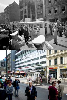 Wall: Then and Now - US President John F Kennedy looking across the Berlin Wall into East Germany during his visit on June 1963 and (below) the area of former Checkpoint Charlie on Sept. Checkpoint Charlie, East Germany, Berlin Germany, Germany Area, Time Travel, Places To Travel, Berlin Ick Liebe Dir, Berlin Wall Fall, Berlin Hauptstadt