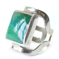 Vintage Green Silver Modernist Mexican Crysocolla Square Cocktail Ring