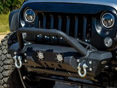 """DV8 Offroad bumpers are all trail tested and proven designs! 3/16"""" and 1/4"""" cold rolled steel, .120 wall tubing, high degree angles and raised corners, light tabs and Solid D-ring mounts w/ rings included. All bumpers come in textured black powdercoating. This style is a stubby bumper with detachable stinger. Built in winch plate for 12500lb winch. For 2007 - 2016 Jeep Wrangler all models. Easy installation, no modifications needed, hardware and lights included."""