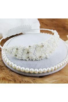 Handmade Bow Wreath Pearl & Rhinestones Tiara