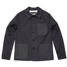 Gloverall Cotton Work Jacket (Dark Navy) Cotton twill with contrasting waxed cotton pockets £119