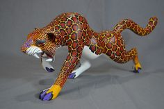 "Susano Morales Oaxacan Folk Art Wood Carving 15"" Jaguar Hand Painted Mexico  | eBay"