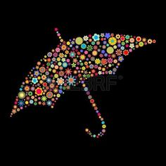 illustration of umbrella shape  made up a lot of  multicolored small flowers on the black background photo