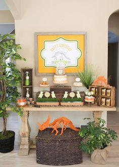 Dinosaur birthday party dessert table