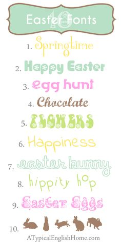 A Typical English Home: Free Easter Fonts Easter Fonts, Easter Printables, Fancy Fonts, Cool Fonts, Fuentes Silhouette, Typography Fonts, Hand Lettering, Dafont, Computer Font