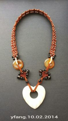 Love of chocolate !! Chocolate and ivory macrame necklace with onyx,carnelian and yellow jade