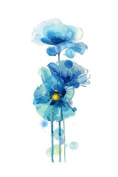 Art Print: Indigo Poppy 3 by Jin Jing : Poppy Flower Painting, Flower Art, Poppies Painting, Watercolor Cards, Watercolor Flowers, Watercolour, Watercolor Paintings For Beginners, Canvas Art, Big Canvas