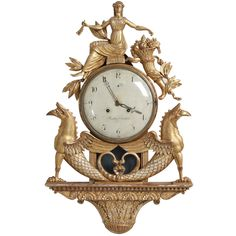 A Superb Swedish Empire Gilded Wall Clock circa 1790