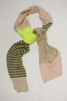 Image of Neon and Neutral Stripe Scarf in Neon Yellow