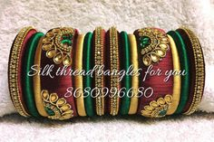 Silk Thread Bangles Design, Silk Thread Necklace, Silk Bangles, Thread Jewellery, Hand Jewelry, Diy Jewelry, Beaded Jewelry, Jewelry Design, Jewelry Making