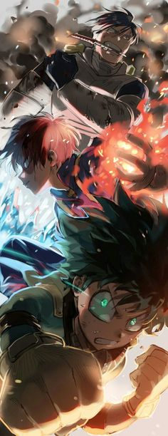 My Hero Academia (僕のヒーローアカデミア) - Tenya Iida, Shouto Todoroki, Izuku Midoriya Manga Anime, Film Anime, Anime Guys, Anime Art, Boku No Hero Academia, My Hero Academia Manga, Hero Academia Characters, Anime Characters, Fan Art