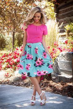 Mint Pink Modest Skirt by Mikarose | Trendy Modest Dresses | Mikarose Spring 2014 Collection