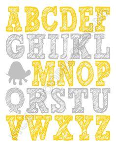 Gray and yellow nursery print