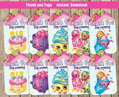 85% OFF SHOPKINS Thank you Tags Small Tags by PartyWithMeCreations