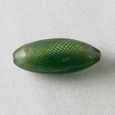 4 Stk - 27mm Puffy Oval Hand geblasen hohlen Glas Beads grün