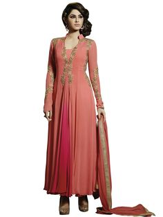 Shop Now Stylish Peach And Pink Embroidered Salwar Kameez With Dupatta Online From Buysellfast