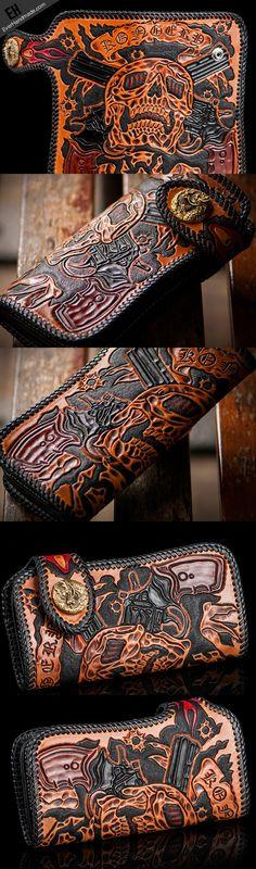 Handmade orange black coffee leather skull guns carved biker wallet Lo | EverHandmade
