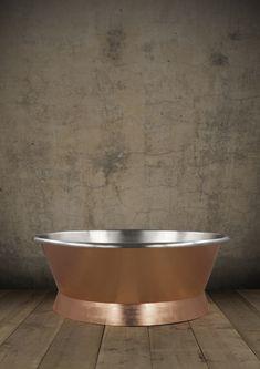 The stainless steel Torino Tub bath hand gilded with copper leaf. #bathtubs #baths #bathrooms #luxurybathrooms #bespoke baths #interiordesign #bathroomdesign #gilding #copperleaf #goldleaf #luxurybathrooms Cast Iron Bath, Copper Bath, Roll Top Bath, Bathtubs, Bathroom Designs, Gold Leaf, Bathroom Accessories, Bespoke, Bathrooms