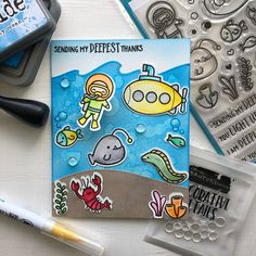 I'm loving the new lawn Fawn sublime stamp set and stitched wave die!!! @lawnfawn @brutusmonroe @ranger_ink @tim_holtz @kuretakezig_usa…