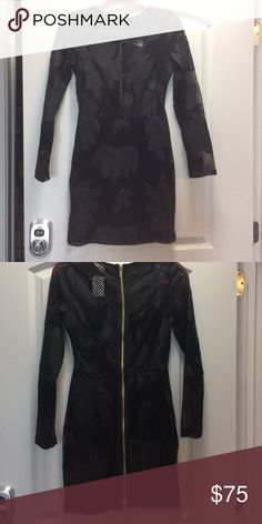 Sexy black dress 🔥 Yes the top is mesh, flowers strategically placed to cover private areas. Zipper all the way down the back. NWT absolutely NO TRADES Reasonable offers only considered through the 'offer' option  NO OUTSIDE TRANSACTIONS WINDSOR Dresses Long Sleeve