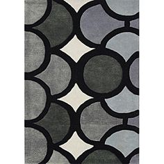 The bold geometric pattern of this hand-tufted wool rug from Alliyah makes a statement in any room. The contemporary geometric design and interesting mix of grey, black and white give this rug from Ne Geometric Circle, Geometric Rug, Geometric Designs, Wool Area Rugs, Wool Rug, H & M Home, Circle Pattern, Hand Tufted Rugs, Grey Rugs