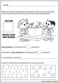 Matemática Infantil: Dezena e Unidade Número 10 Atividades Turma da Mônica