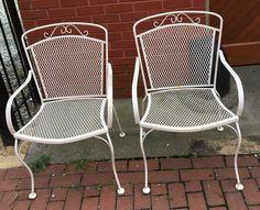 Pair Salterini Style Wrought Iron Arm Chairs Vintage   | eBay
