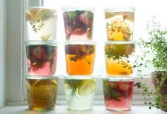 Lovely and refreshing. And alcoholic. Summer Cooler: Infused Sun Tea in The BULLETIN at Terrain. Weck Jars, Canning Jars, Refreshing Cocktails, Summer Drinks, Sun Tea, Fruit Infused Water, Tea Infuser, Detox Tea, Tea Recipes