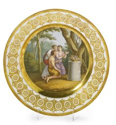 A Russian porcelain dessert plate, Imperial Porcelain Manufactory, St. Petersburg, Period of Alexander I (1801-1825)