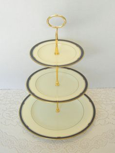 Dessert Stand, 3 Tier Cake Stand, Vintage China, Appetizer Tray, Tiered Server, Ivory China – Pfaltzgraff Hampton